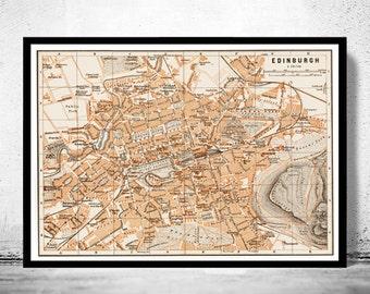 Old Map of Edinburgh, Scotland United Kingdom 1890 Vintage map Edinburgh