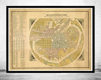 Old map of Lima Peru 1830