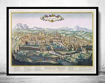 Jerusalem Palestine old engraving illustration , Israel Holy Land 1750