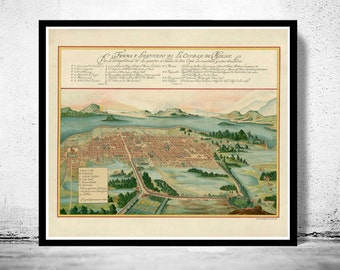Old Map of Mexico City,  Mexico 1628