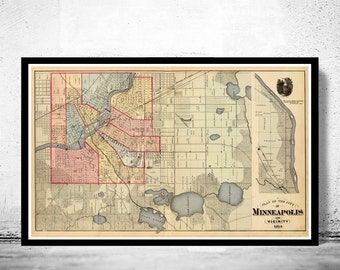 Old map of Minneapolis 1871