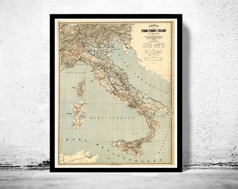 Old Map of Italy 1891 italia
