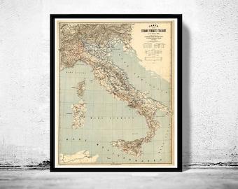 Old Map of Italy 1891 italia