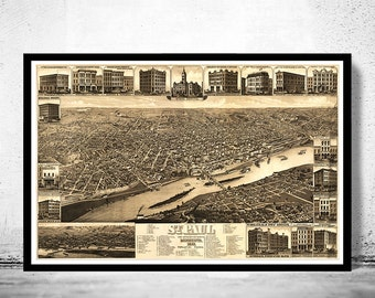 Vintage Panoramic View of St Paul Minnesota Birdseye View , 1883