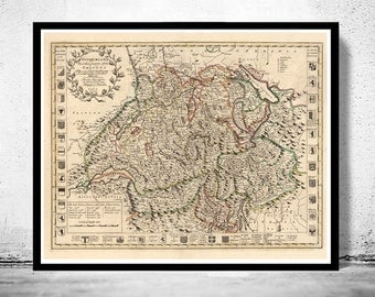 Old Map of Switzerland Antique Schweiz 1721