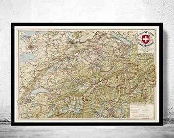 Old Map of Switzerland Antique Schweiz 1924
