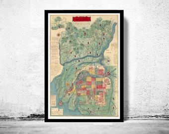 Old Map of Osaka City Japan 1877