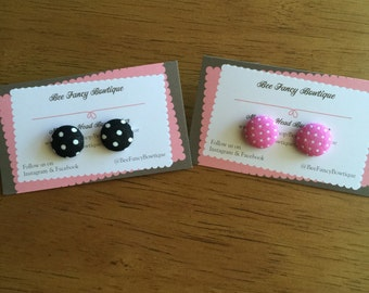 Polka dot fabric covered button earrings