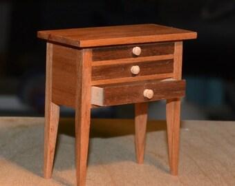 Miniature Hallway three drawer table,Miniature Table, Miniature Walnut Side table with accessories, Miniature Furniture