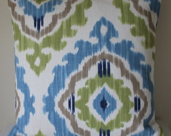 Ikat pillow cover, decorative pillow, 18 x 18 Ikat cushion, blue, green, taupe, concealed zip,