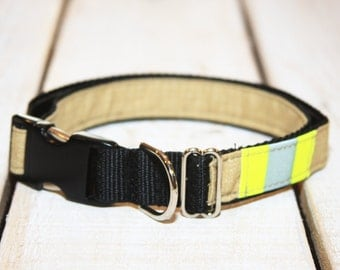 Firefighter Dog Collar Made from Real Turnout Material With Reflective and black METAL BUCKLE