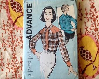 1960s Advance 9943 bust 32 Ladies Western shirt pattern