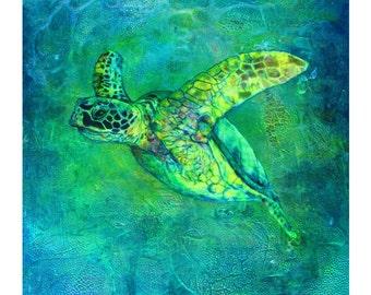 "Turtles , Turtle painting , Turtle art , Limited Edition Turtle Prints ""Silent Journey"""