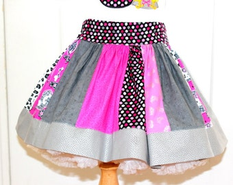 Girls pirate skirt Pirate birthday skirt Girl silver pink black pirate skulls skirt for a pirate birthday party