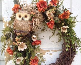 Fall Wreath for Door- Fall Owl Wreath, Front Door Wreath, Rustic Fall Wreath, Autumn Wreath, Fall Decor, FlowerPowerOhio, ATCTTEAM