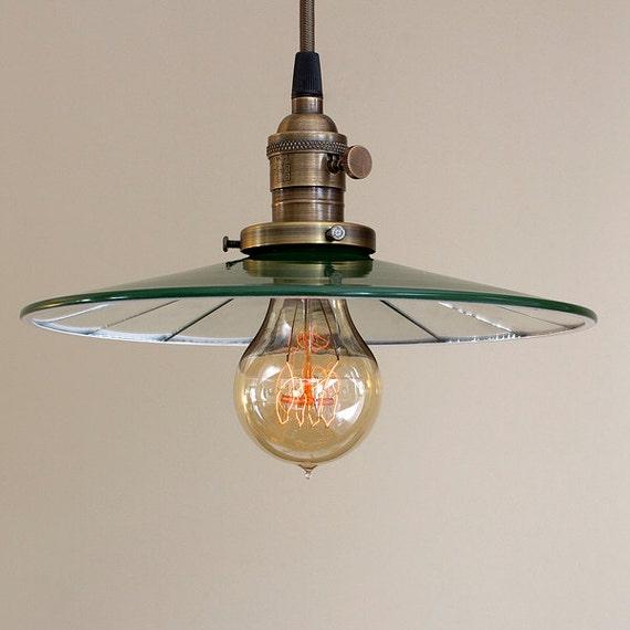 Industrial Pendant Light Green: Pendant Light Fixture Mirrored Green Vintage Style Industrial