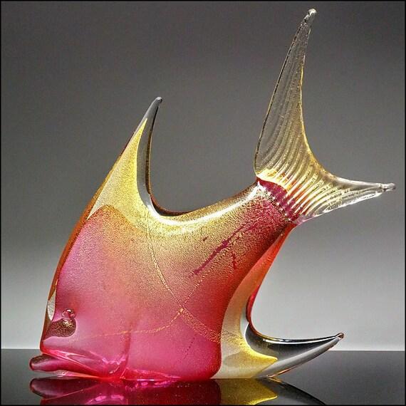 Oggetti Italian Murano Art Glass Pink Sommerso Fish W Metallic