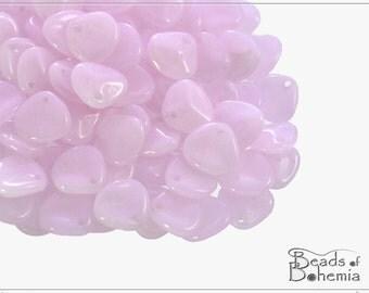 50 pcs Pink Silk Czech Rose Petal Beads 7x8 mm (9624)