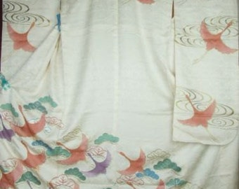 Vintage Japanese Kimono with gold painting and colored cranes  K72