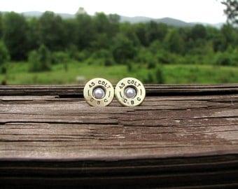 Colt Bullet Earrings- June Birthstone Earrings- Country Western- Ammo Earrings- Pearl Earrings- Eco Friendly- Stud Earrings- Bullet Jewelry