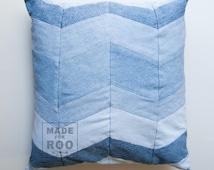 Stanford Pillowcase-Denim Pillow Cover-Decorative Pillows-Throw Pillow Covers-Chevron-Patchwork Denim-Upcycled Denim -Patchwork Pillow