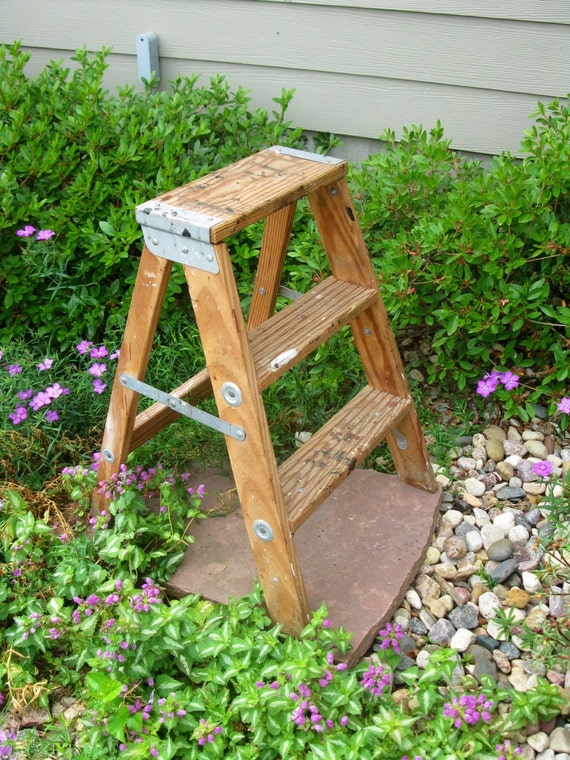 Small Wooden Step Ladder Step Stool Folding Ladder Plant