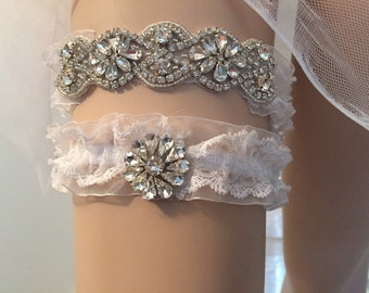 Luxury Wedding Garter, Bridal Garter,Rhinestone Wedding Bridal Lace Garter Rhinestone Garter