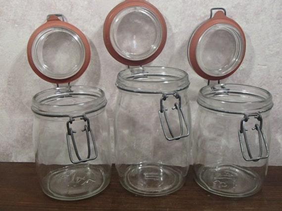 set of 3 clamp lid glass jars with rubber seals 1 liter and. Black Bedroom Furniture Sets. Home Design Ideas