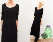 Vtg Black Minimalist Long Sleeve Maxi Dress • Textured • Long Bag Dress • Oversized • Goth Grunge •