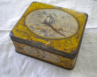 Vintage 1900s French Tin The Wolf and The Crane