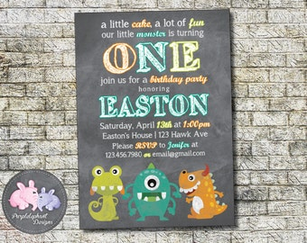 Monster Birthday Invitation / Little Monster Boy or Girl Birthday Party Invitation  / Photo Option 5x7 / Printable, Digital / 1st 2nd