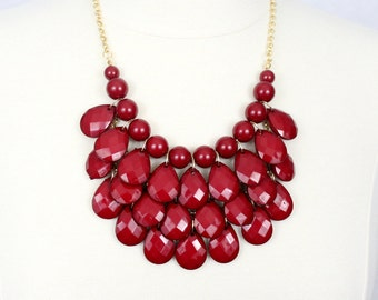 Statement Necklace Teardrop Necklace Multi Layered Necklace Chunky Necklace Bubble Necklace Wine Red