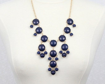 Navy Blue Bubble Necklace Mini Bubble Bib Statement Necklace Small Size