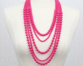 Multi Strand Statement Necklace Multi Layered Beaded Necklace Long Necklace Chunky Necklace Multi Strands Beaded Necklace Fuchsia Hot Pink