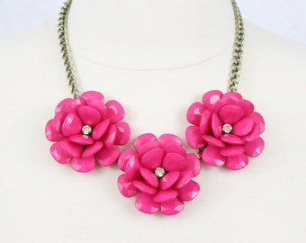 Fuchsia Statement Necklace Beaded Rose Necklace Chunky Flower Necklace Rosette Collar Necklace Hot Pink