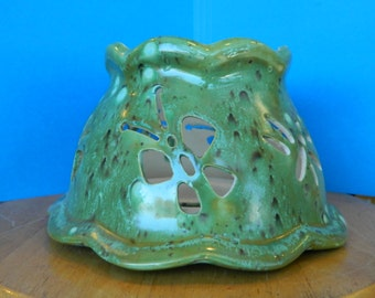 Ceramic Candle Shade in Green Crystal tone Glaze