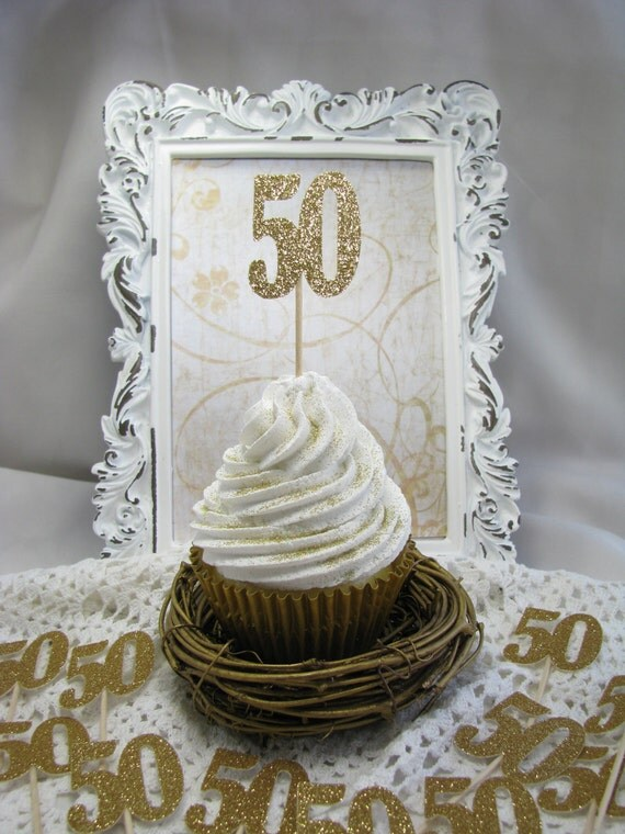 50th Birthday Cupcake Toppers Number Birthday Party Favors Party