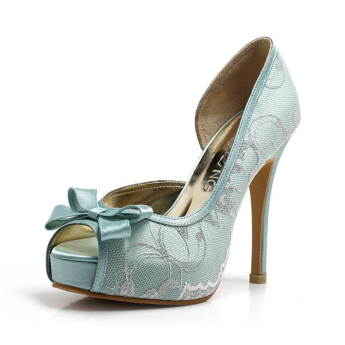Lady Catherine Something Blue Wedding Heels Blue Lace Bridal