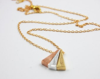 Triforce Triple Triangle Bar Three Metals Rose Gold, Gold, Silver Plated Minimalist Dainty Delicate