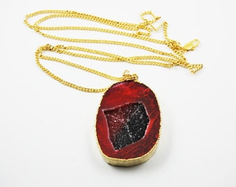 Deep Red Agate Cut Druzy Drusy Gold Plated Pendant Necklace With Long Chain Geode