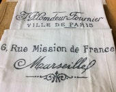 """Kitchen Towels French Inspired, Paris, Marseille (set of 2- 30""""x30"""")"""