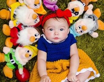 Crochet Newborn Snow White Inspired Dress & Headband - MADE TO ORDER