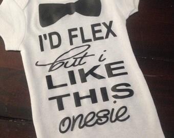 Baby boy onesie ladies I'd flex but i like this onesie. Baby boy bow tie onesie. Funny boy onesie.Newborn boy gift bow tie onesie