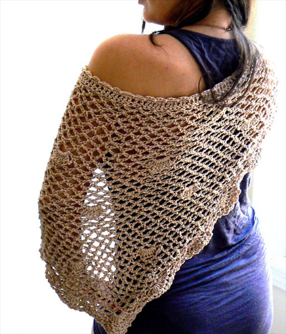 Crochet shawl. Handmade beige mesh scarf. Elegant lace wedding shawl. Sexy bikini crochet coverup skirt. Boho crochet shawl, triangle scarf