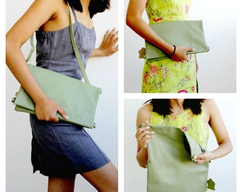 Sale 20% green leather clutch purse ,laptop convertible bag