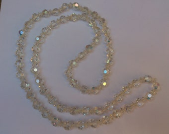 long vintage crystal/glass bead necklace