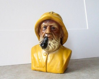 Fisherman Terrestone Figure by Orzeck of Ware, Massachusetts Vintage 1950s