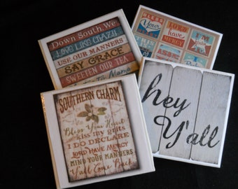 Southern Sayings ~ Ceramic Tile Coasters ~ Home Decor ~ Housewarming Gift ~ Shower Gift ~ Drink Coasters ~ Fun Coasters ~ Southern Life