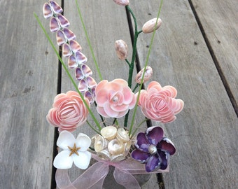 Seashell Wild Flower Bouquet in Vase with Sand (Short)