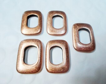 SALE: 10 Antique Copper Rectangle Slice Sliders, Licorice Leather Bracelet Finding,